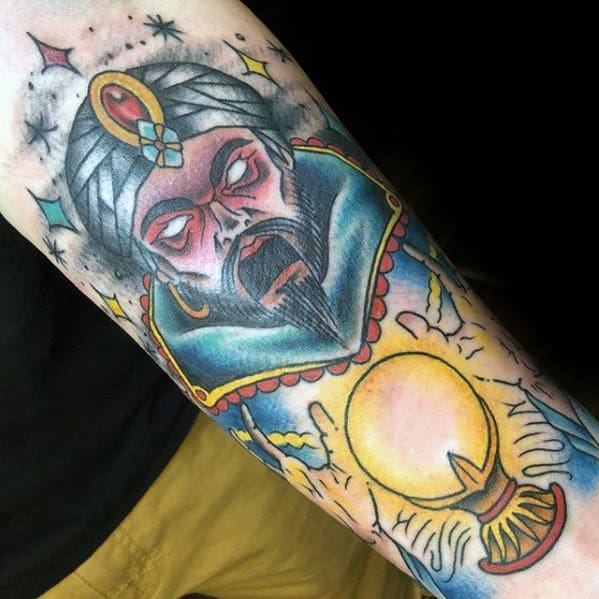 Mens Cool Crystal Ball Tattoo Ideas Forearms