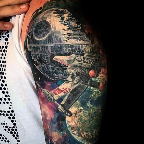 Mens Cool Death Star Tattoo Ideas Half Sleeve Design With Spaceship