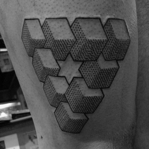 Mens Cool Detailed Thigh 3d Penrose Triangle Tattoo Ideas