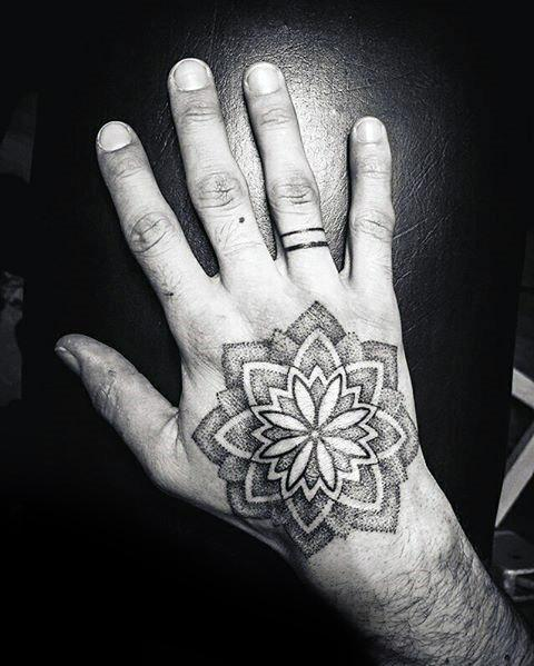 Mens Cool Dotwork Flower Geometric Hand Tattoo Ideas