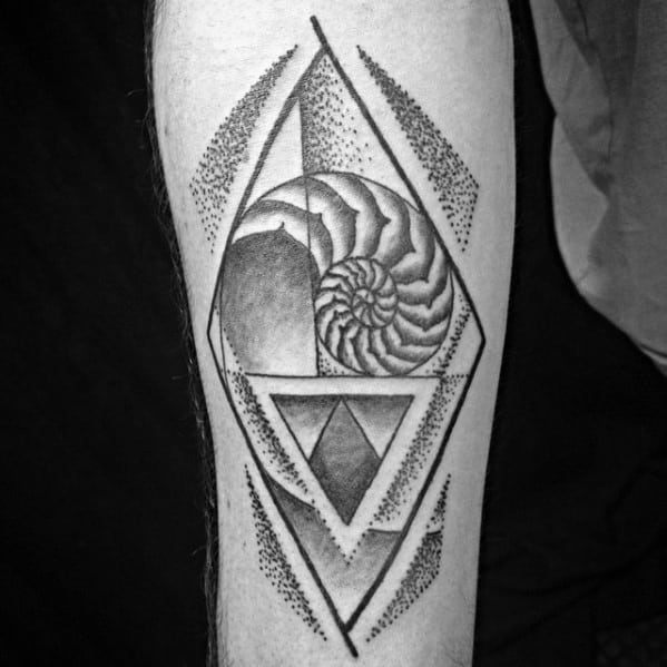 Mens Cool Dotwork Inner Forearm Ammonite Tattoo Ideas