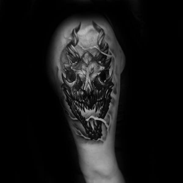 Mens Cool Dragon Skull Tattoo Ideas