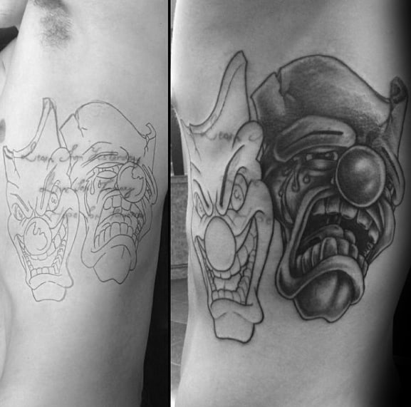 Mens Cool Drama Mask Tattoo Design Inspiration Upper Ribs