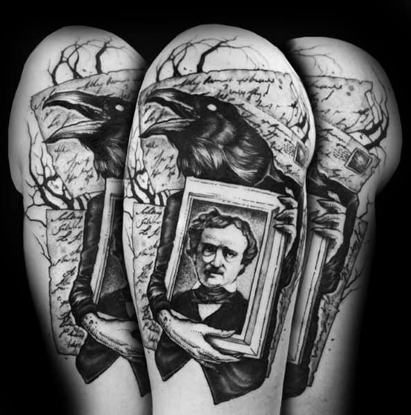 Mens Cool Edgar Allan Poe Tattoos
