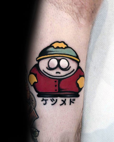 Mens Cool Eric Cartmen Leg Calf South Park Tattoos