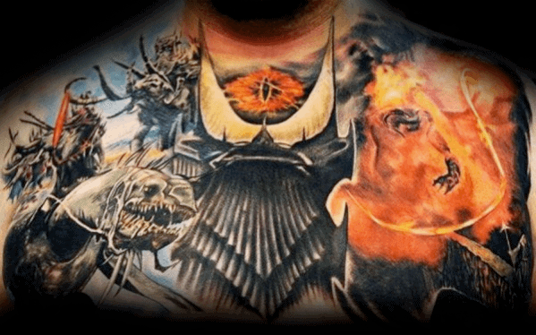 Mens Cool Eye Of Sauron Upper Chest 3d Realistic Tattoo Ideas