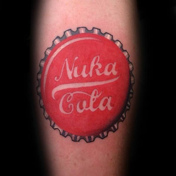 Mens Cool Fallout Nuka Cola Bottle Cap Leg Tattoo Design Inspiration