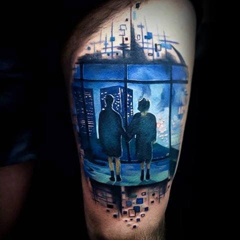 Mens Cool Fight Club Watercolor Blue Ink Window Thigh Tattoo