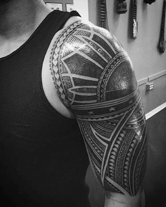 Mens Cool Filipino Sun Half Sleeve Tribal Tattoo Ideas