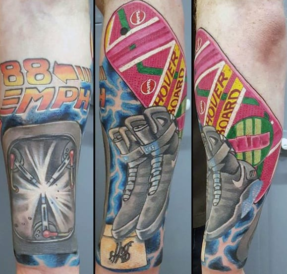 Mens Cool Forearm Back To The Future Sleeve Tattoo