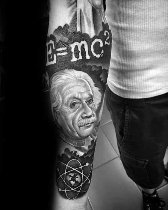 Mens Cool Forearm Sleeve 3d Albert Einstein Tattoo Ideas