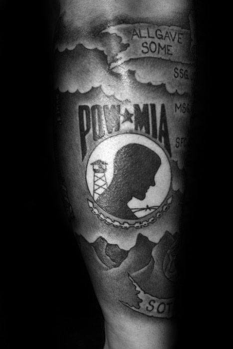 Mens Cool Forearm Sleeve Pow Mia Tattoo Ideas