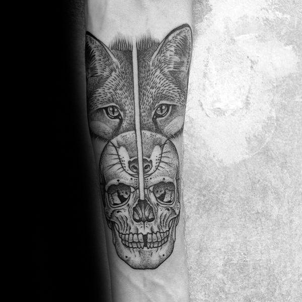 Mens Cool Fox Skull Tattoo Ideas