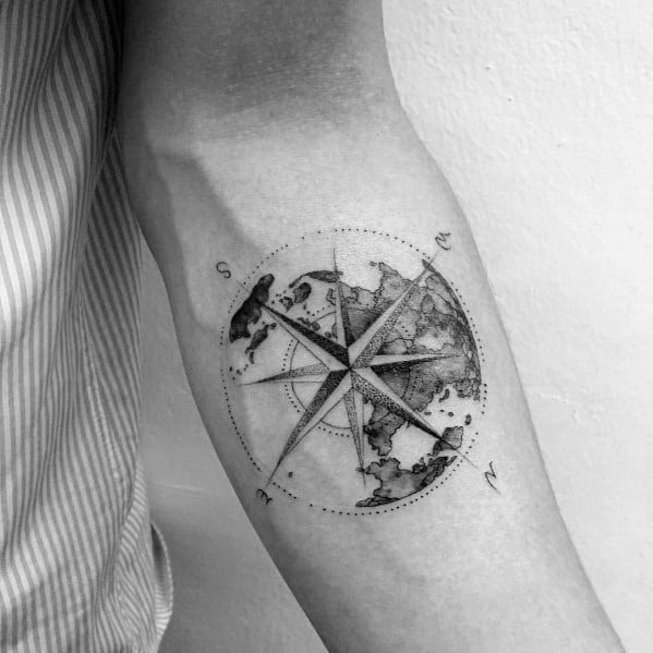 Mens Cool Geometric Compass Tattoo Ideas