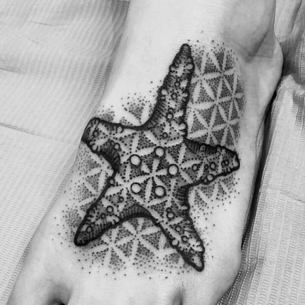 Mens Cool Geometric Foot Starfish Tattoo Ideas