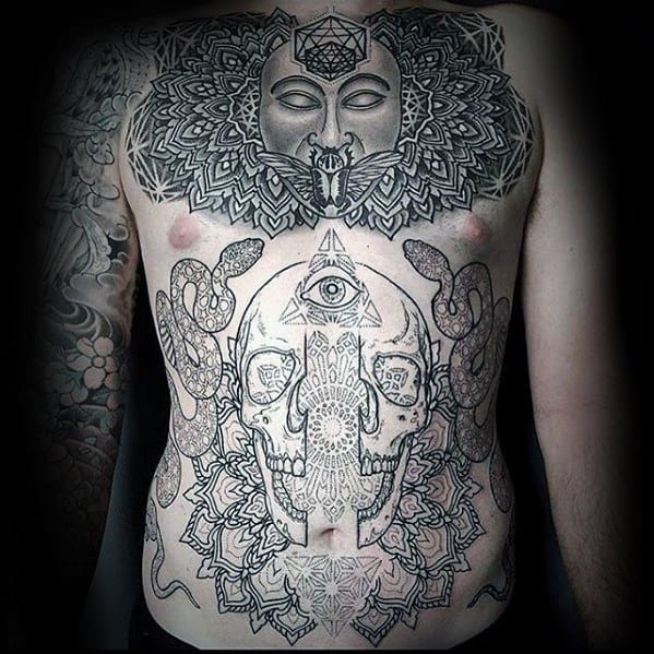 Mens Cool Geometric Skull Chest Tattoo Ideas