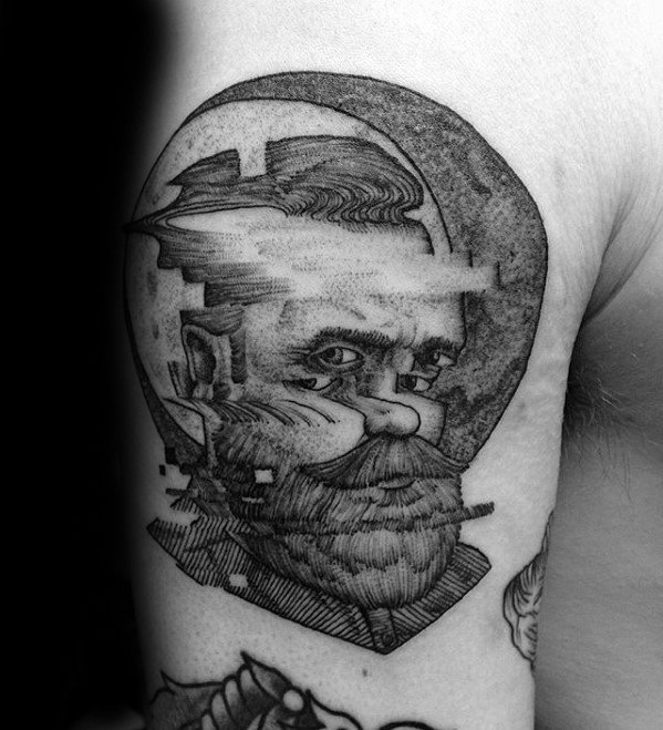 Mens Cool Glitch Tattoo Ideas On Arm