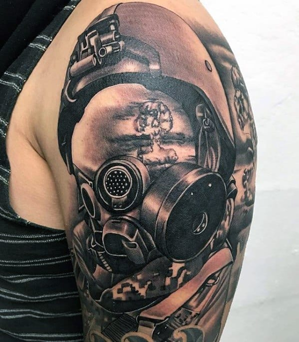 Mens Cool Half Sleeve Pilot Helmet Mushroom Cloud Tattoo Ideas
