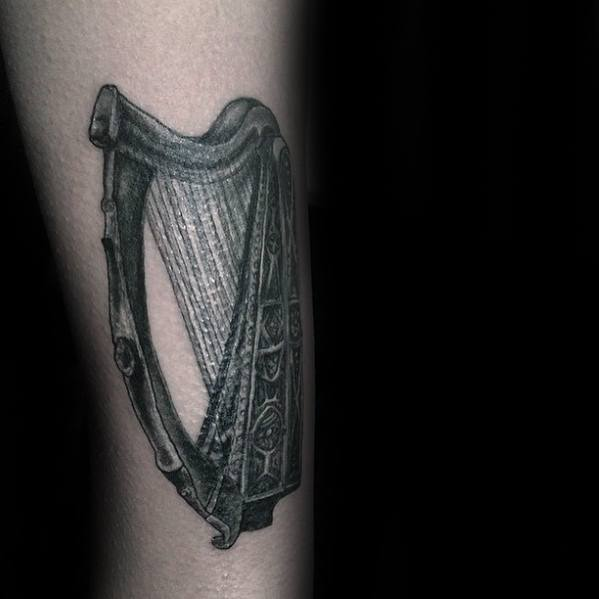 Mens Cool Harp Tattoo Design Inspiration Forearms