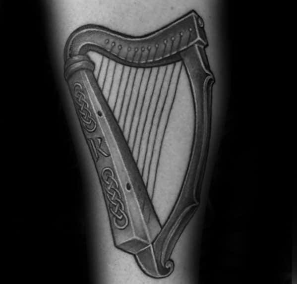 Mens Cool Harp Tattoo Ideas Bicep