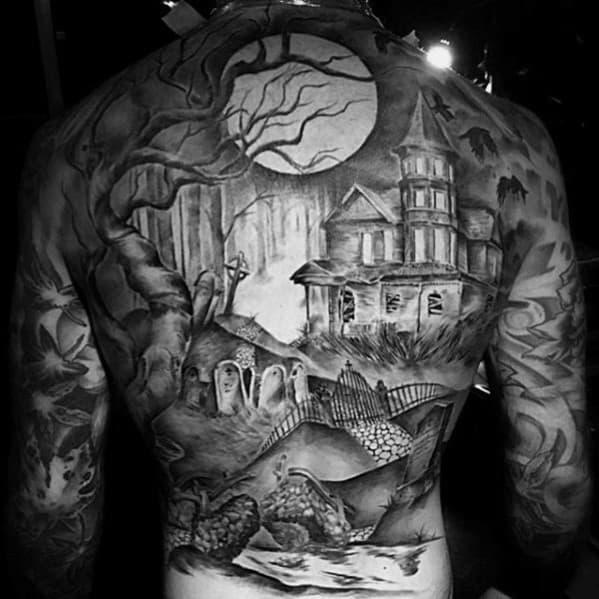 Mens Cool Haunted House Tattoo Ideas