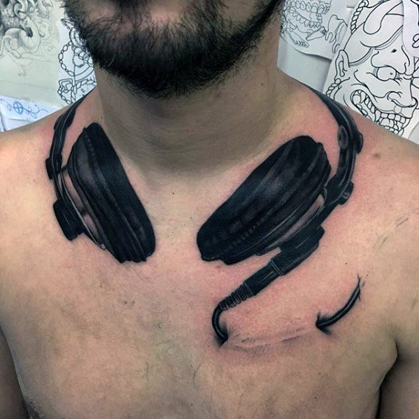 Mens Cool Headphones Tattoo Ideas Around The Neck And Chest