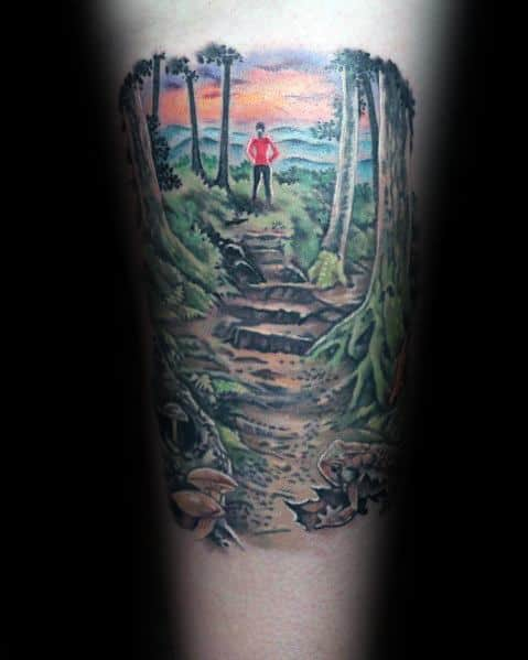 Mens Cool Hiking Tattoos
