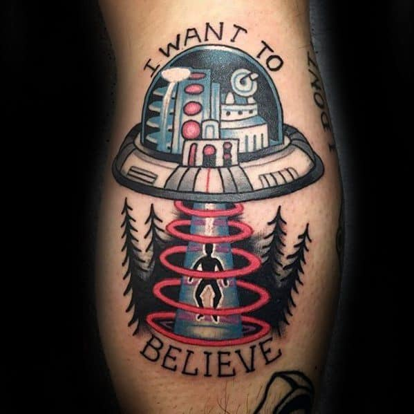 Mens Cool I Want To Believe Leg Calf Tattoo Ideas