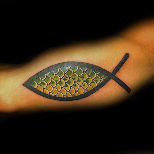 Mens Cool Ichthus Tattoo Ideas Fish Scales Inner Arm Bicep