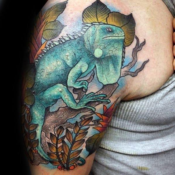 Mens Cool Iguana Tattoo Ideas