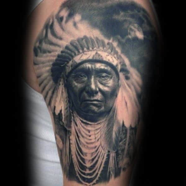 Mens Cool Indian Portrait Tattoo Design Inspiration Half Sleeve
