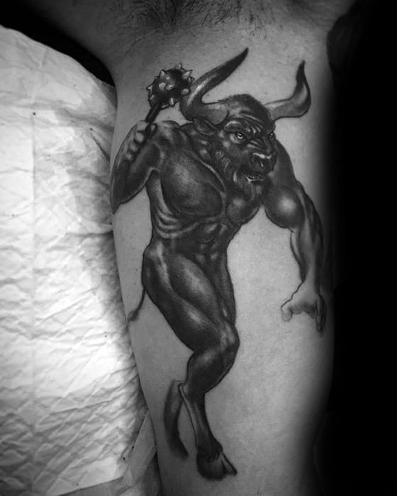 Mens Cool Inner Arm Bicep Minotaur Tattoo Ideas