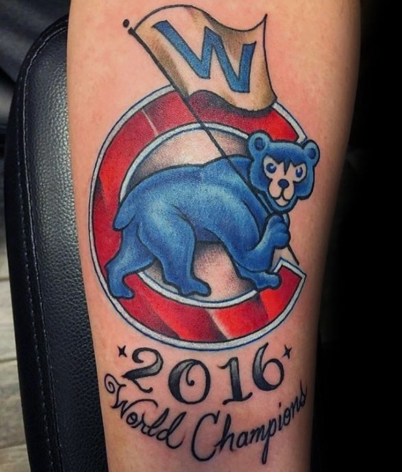 Mens Cool Inner Forearm Chicago Cubs Tattoo Design Inspiration