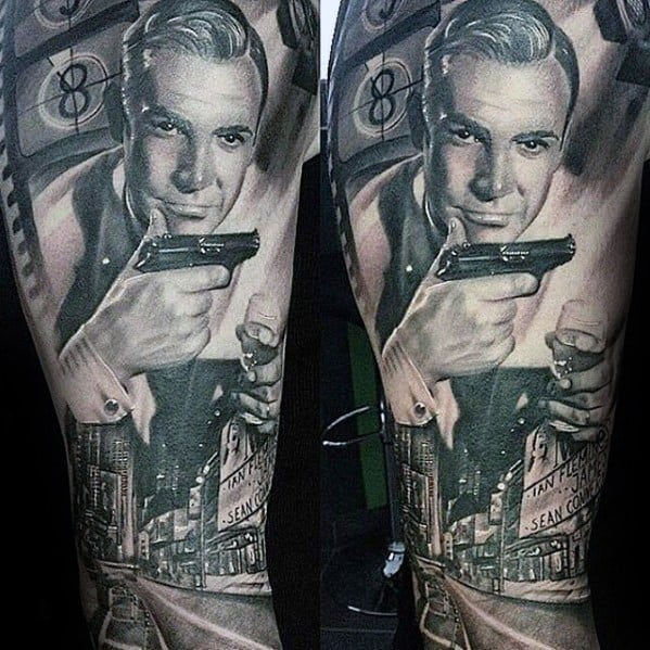 Mens Cool James Bond Themed Leg Sleeve Tattoo Ideas