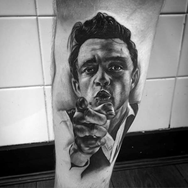 Mens Cool Johnny Cash Portrait Tattoo Ideas On Leg