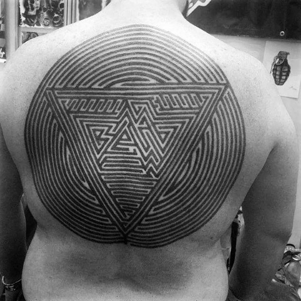 Mens Cool Labyrinth Tattoos