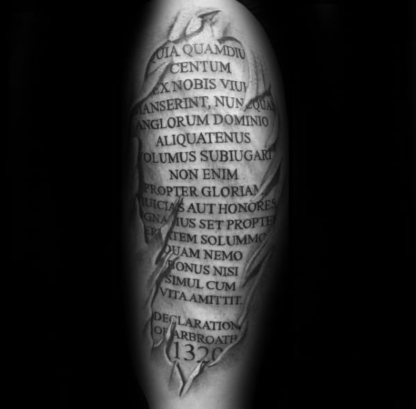 Mens Cool Latin Tattoo Ideas With Ripped Skin Design On Arm