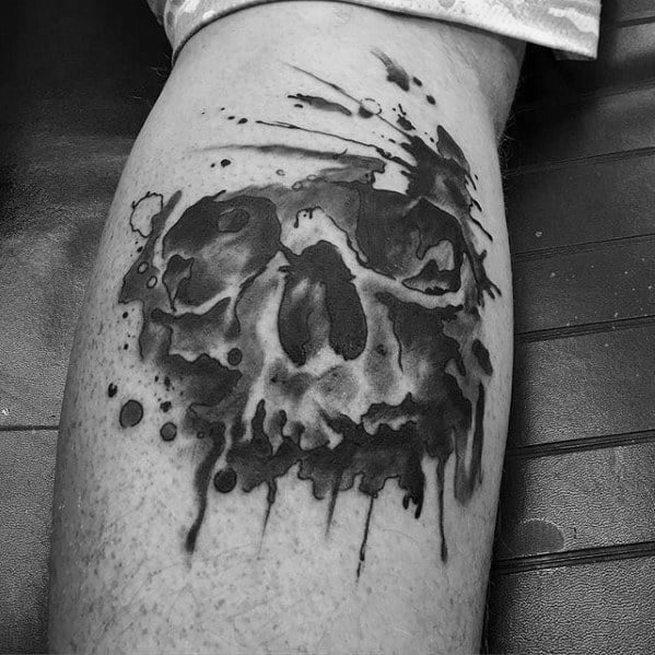 Mens Cool Leg Calf Black And Grey Watercolor Skull Tattoo Ideas