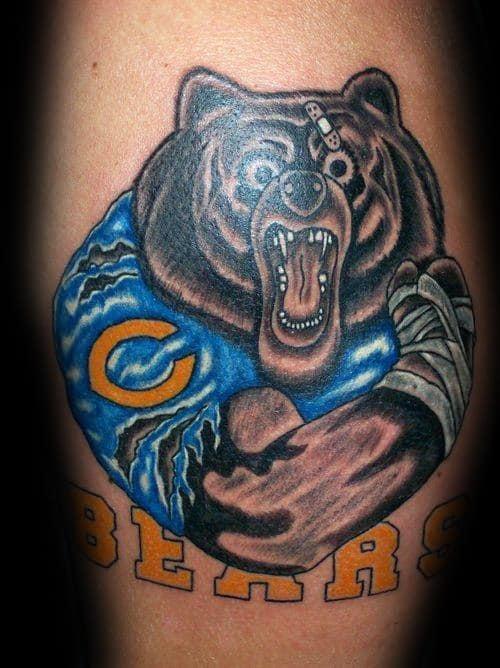 Mens Cool Leg Calf Chicago Bears Tattoo Ideas