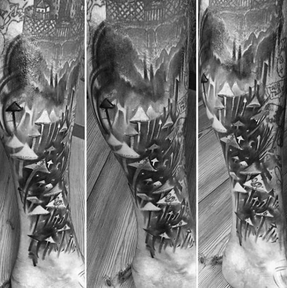 Mens Cool Leg Sleeve Black And Grey Shaded Mushroom Tattoo Ideas