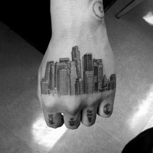 Mens Cool Los Angeles Skyline Tattoo Ideas On Hand
