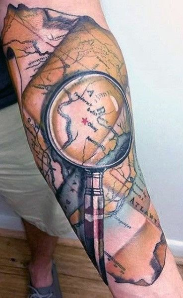 Mens Cool Magnifying Glass Tattoos
