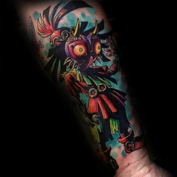 Mens Cool Majoras Mask Tattoo Ideas Forearm Sleeve