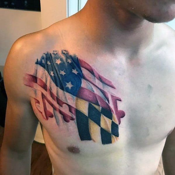 Mens Cool Maryland Flag Tattoos
