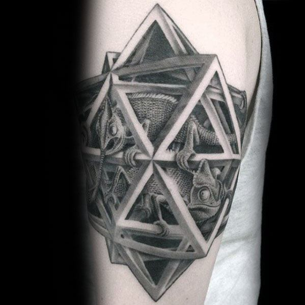 Mens Cool Mc Escher 3d Tattoo Design Inspiration