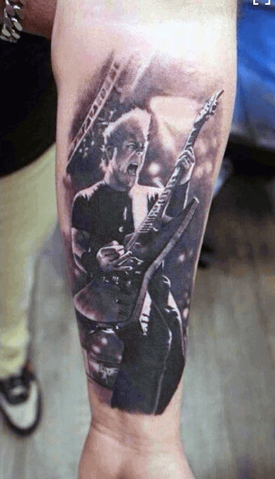 Mens Cool Metallica Tattoo Ideas On Inner Forearm