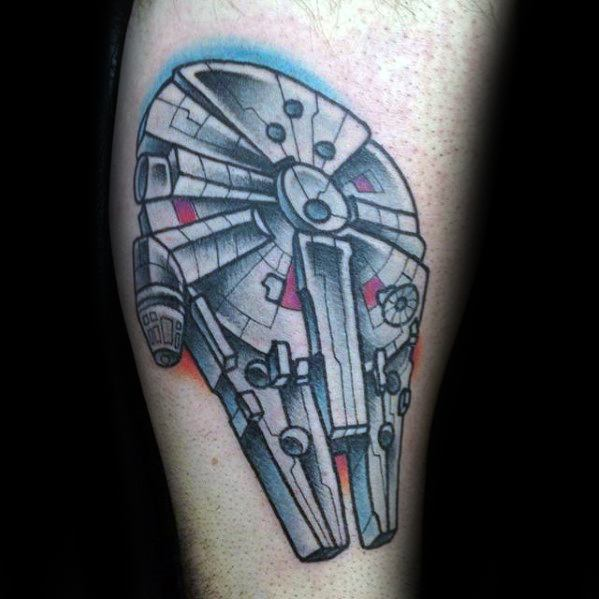 Mens Cool Millennium Falcon Tattoo Ideas