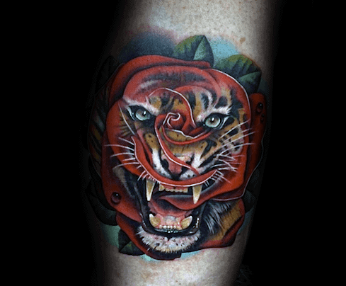 Mens Cool Morph Tiger Rose Flower Forearm Tattoo Ideas