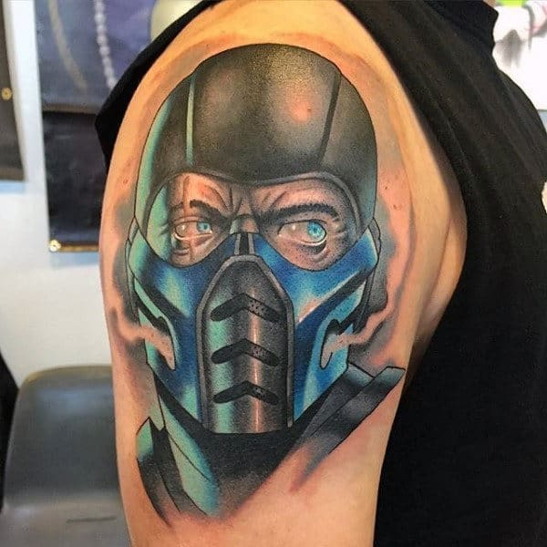 Mens Cool Mortal Kombat Watercolor Sub Zero Upper Arm Tattoos