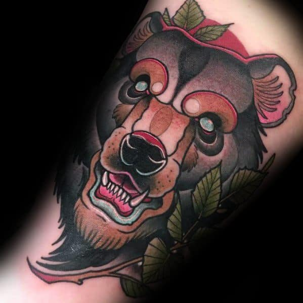 Mens Cool Neo Traditional Bear Tattoos